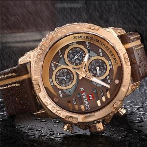 Image 2 - NAVIFORCE メンズウォッチトップブランドの高級 3Bar 防水日付クォーツ時計男革スポーツ腕時計男性防水時計