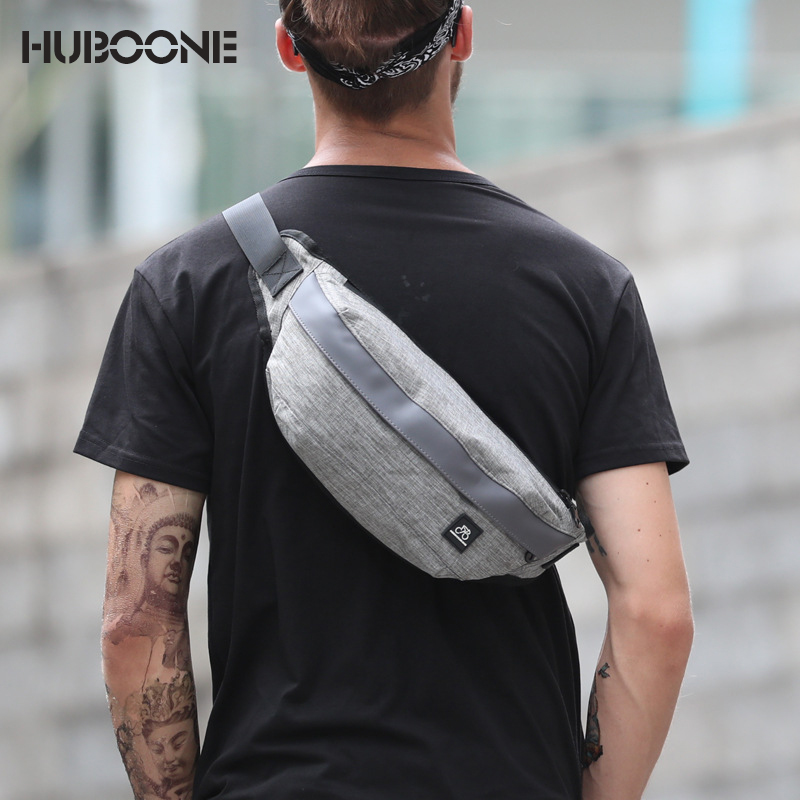 Men's Outdoor Sports Pockets Banana Waist Bag Men Fanny Pack Bum Belt Bag Male Chest Shoulder Messenger Bags Mobile Phone Pouch