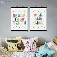 Современные мотивационные типографии мечта котировки деревянной рамке холст картины декор стен в детской комнате Книги по искусству печат...