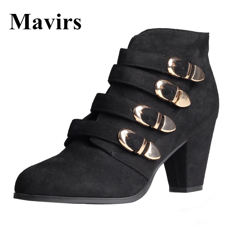 Mavirs 2017 Autumn Winter Pointed Toe Sexy Medium High Heel Ankle Boots For Women Buckle Suede Black Casual Shoes pointed toe sexy front lace up casual ankle boots autumn high heel fetish shoes suede stiletto roman 2017 pink strange female