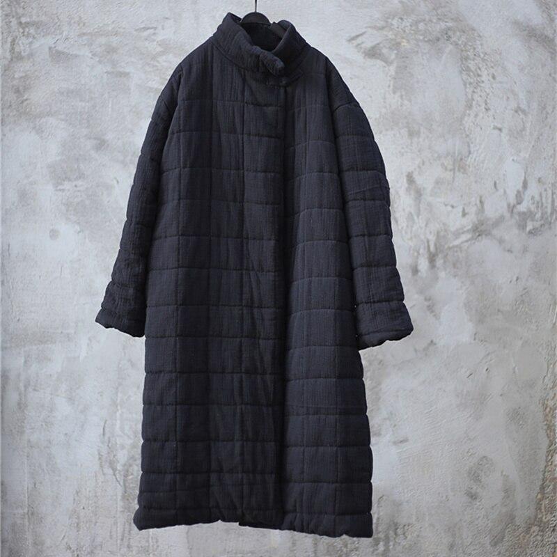 Johnature 2018 Autumn Winter Solid Color Women   Parkas   Coats New Loose Stand Collar Vintage Cotton Linen Long Section Coats