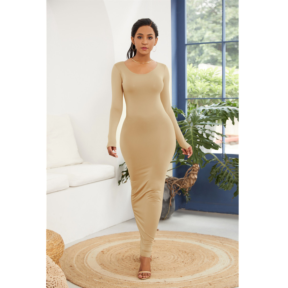 2019 Spring Autumn Women New Long Sleeve O Neck Solid Slim Long Dress Casual Simple High Stretchy Bodycon Package Hip Maxi Dress