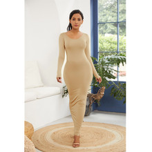 2019 Spring Women 12 Color Long Sleeve O Neck Solid Slim Long Dress Casual Simple High Stretchy Bodycon Package Hip Maxi Dresses