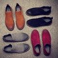 Zapatos de los hombres de la vaca suede botines de cuero genuino botas chelsea moda gris camello negro rojo hombre botas chelsea plus felpa o no 004