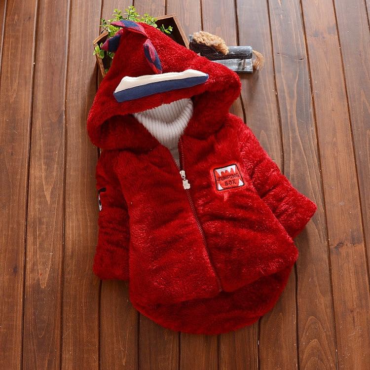winter boy coat fleece thick hooded long sleeve zipper kids jacket baby boys cotton Dinosaur pattern outwear children clothing