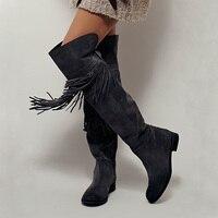 Популярные Сапоги выше колена с круглым носком, украшенные кисточками, женские сапоги, высокие сапоги с металлическим декором, дизайнерска