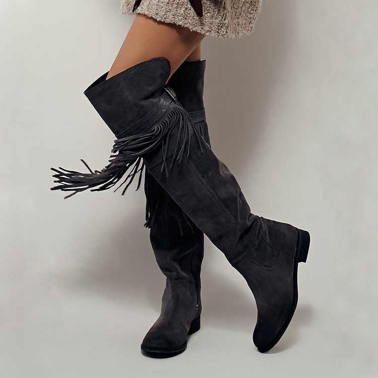 Hot Over Knee Boots Round Toe Tassel Embellished Woman Boots Long Booties Metal Decor Side Zipper Design Shoes Woman Suede Boots men side striped embellished jogger
