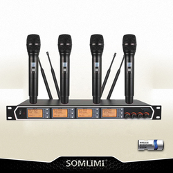 New High Quality Professional  4 channel Handheld Wireless Microphone professional lavalier clip microphone headset