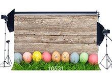 Photography Backdrops Easter Theme Eggs Green Grass Field Scene Nostalgia Wooden Floor Portraits Background