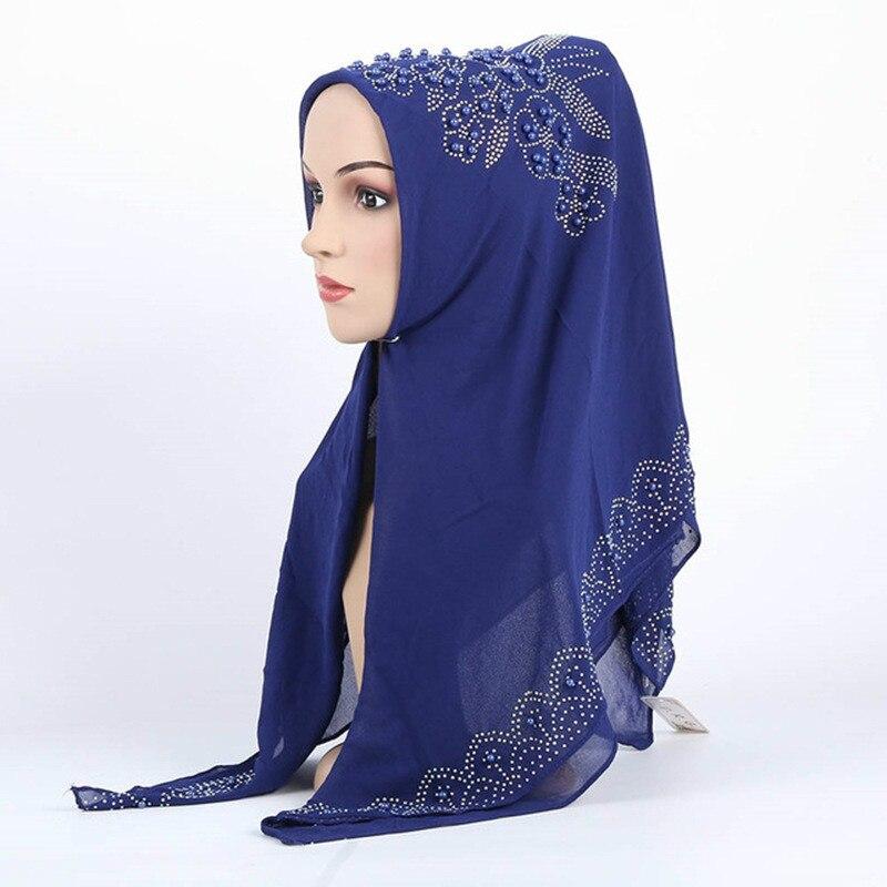 New Chiffon Pure Silk Hijab Scarf Plain Shinny Muslim Ethnic Hijab Hot Stamping Rhinestone Muffler Long Scarf Luxury Brand