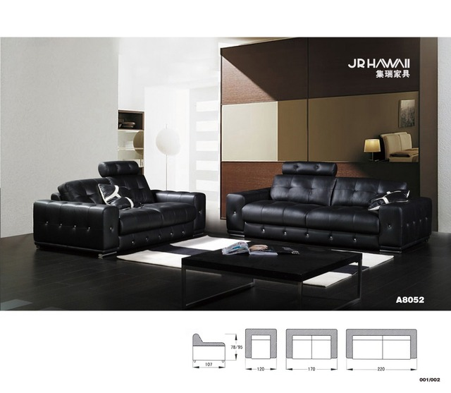 Wohnmöbel sofagarnitur in leder voller wohnzimmer sofa schwarz ...
