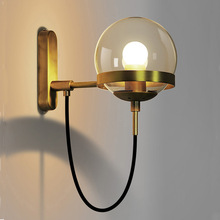 QUKAU Nordic Wall Lamp Retro industrial iron art sconces diameter 15CM glass ball bedroom bedside modern simple hotel aisle lamp the nordic country american industrial loft personality rh simple bedside aisle stairs transparent glass wooden wall lamp