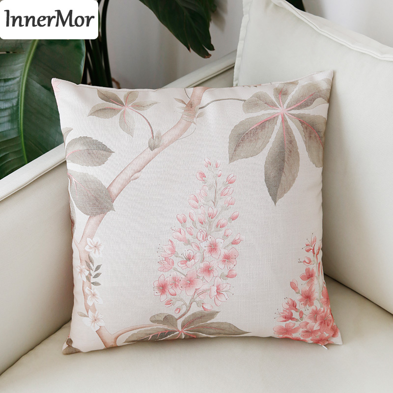 Innermor Printed Plant Home Decor Cushion Cover Faux linen <font><b>Pillow</b></font> <font><b>Case</b></font> Home modern decorative For sofa bed car seat45x45 <font><b>50x50</b></font> image