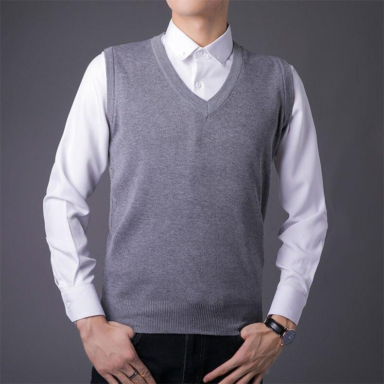 Men Sweater Vest Male Winter Knitted Sleeveless Sweater Men Pullover Flexible V-neck Jumper Autumn 1111 Global Shopping Festival 2