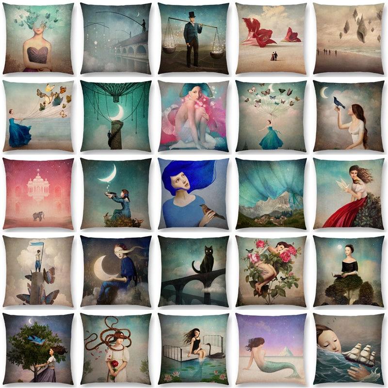 Новые Элегантные леди милая девушка Шекспир Фэнтези живопись Лунная ночь лебедь Мечта Ёлки Чехлы для подушек диван Пледы Наволочки