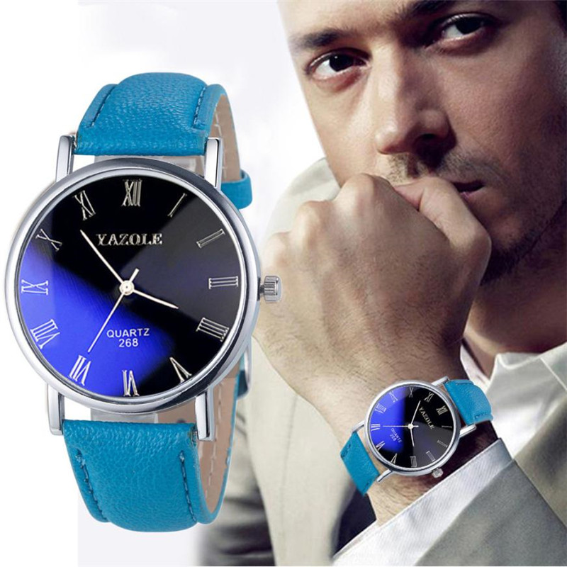 Classic Luxury Fashion Leather Strap Watch Men Quartz Watch Casual Males Business Wrist Men Watch Clock relogio masculino #D