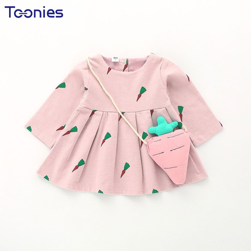 2017 Toddler Girls Dress Casual Pullover Kids Clothing Cotton baby Girl Printing cute Long Sleeve Dresses Lovely children's wear цены онлайн