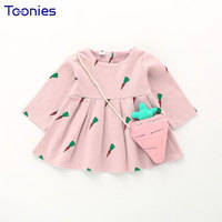 Toddler Girls Dress Casual Fashion Kids Clothing Cotton Girl Korean Style Printed Carrot With Packet Long