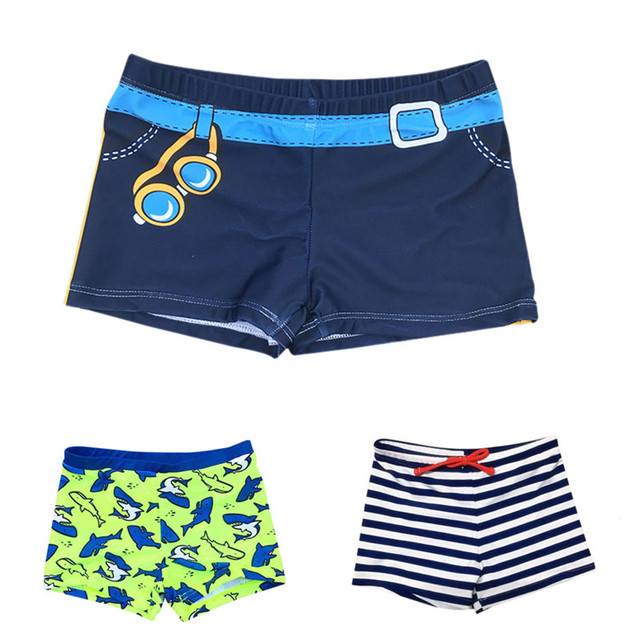 2018 пляжные шорты для мальчиков детские плавки детей Плавание костюмы Плавание одежда в полоску для маленьких мальчиков Плавание Рыба печати ванный комплект 2-8Years