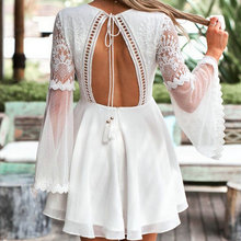 ZOGAA V-Neck sexy women dress Long Flare Sleeve Crochet Lace Summer Beach Vestidos Hollow Out Dress Mini Chiffon Backless Dress new europe new 2018 spring summer pregnant women causal sexy v neck long flare sleeve hollow out lace dress maternity clothes