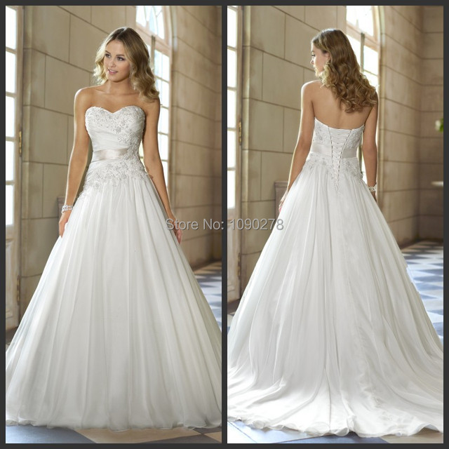 Vintage Lovely Stella York 5720 Organza Ivory Sweetheart Lace Up ...