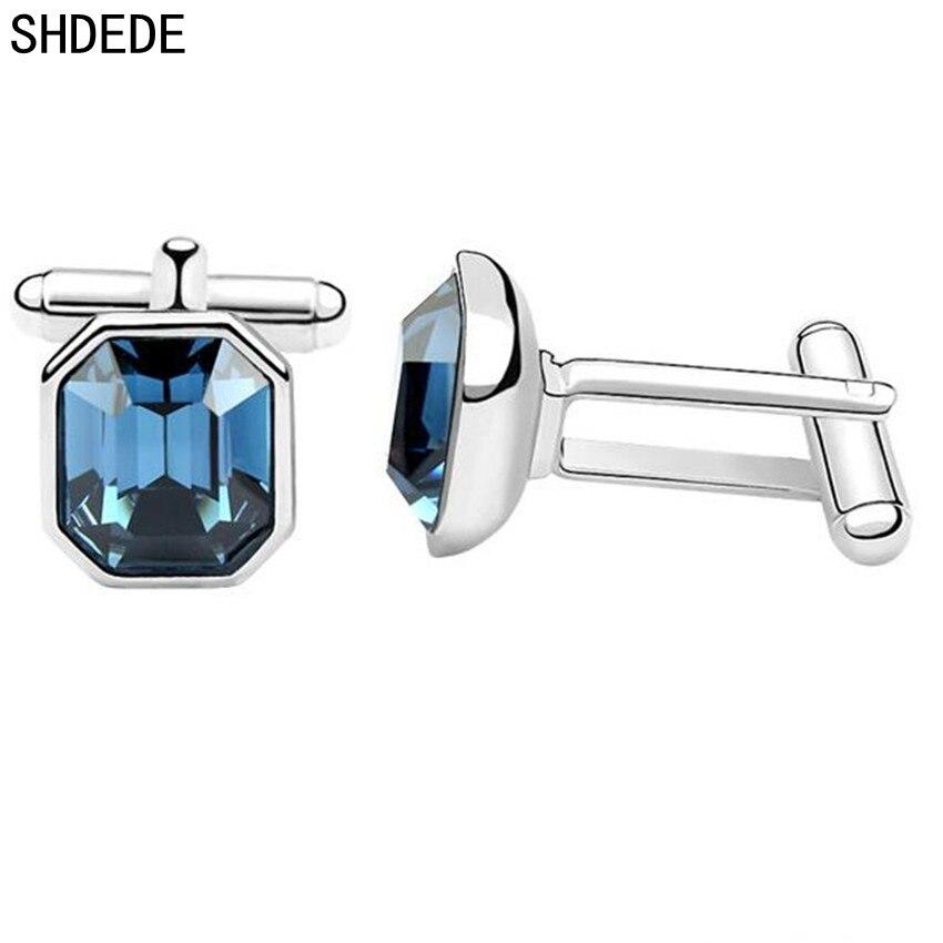 SHDEDE Männer Elegante Blue Square Hochzeit Manschettenknöpfe Kristall von Swarovski Hohe Qualität Weibliche Damen Zubehör-2995