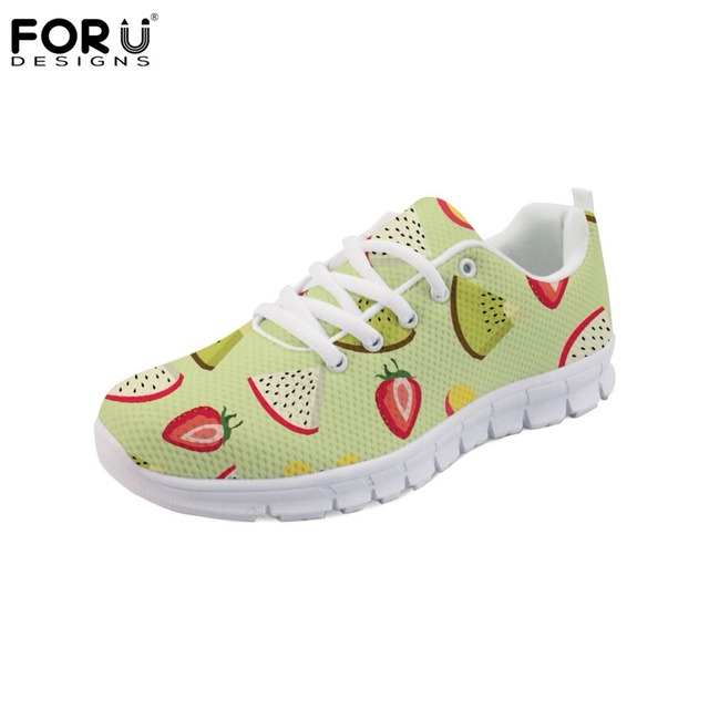 FORUDESIGNS Comfortable Breathable Mesh Flats Shoes for Women Fashion  Ladies Casual Sneakers 3D Fruit Pattern Women s Shoes 2018 ff94ce3f5