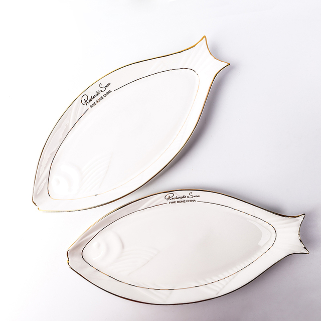 16in White Creative Ceramic Bone China Fish Shape Plate Gold Plated on-glazed Dinnerware Flat  sc 1 st  AliExpress.com & 16in White Creative Ceramic Bone China Fish Shape Plate Gold Plated ...