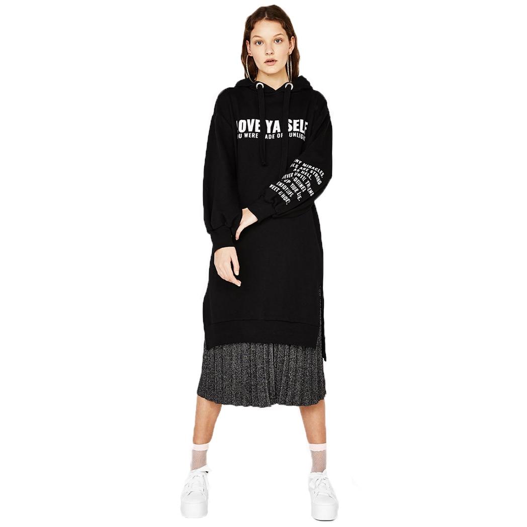 Women Preppy StyleStreet Loose Alphabet Printed Dress Female Autumn New Money Sweater Sides Split Long Sleeve Black Dress