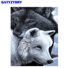GATYZTORY Frameless Gray Wolf DIY Painting By Numbers Calligraphy Painting Modern Wall Art Picture By Numbers Home Decor Drop(China)