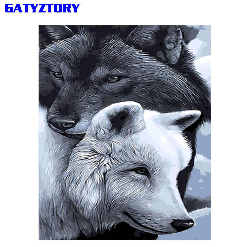 GATYZTORY Frameless Gray Wolf DIY Painting By Numbers Calligraphy Painting Modern Wall Art Picture By Numbers Home Decor Drop