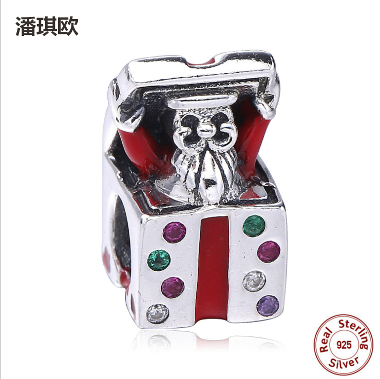 Retro 100% 925 Sterling Silver Red Enamel Music Box Beads Fit Original pandora Bracelet Charm DIY Jewelry Christmas