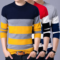 YDTOMM Pullover Male New Fashion Red Black Striped Sweater 2018 Spring Autumn O Neck Men Wool