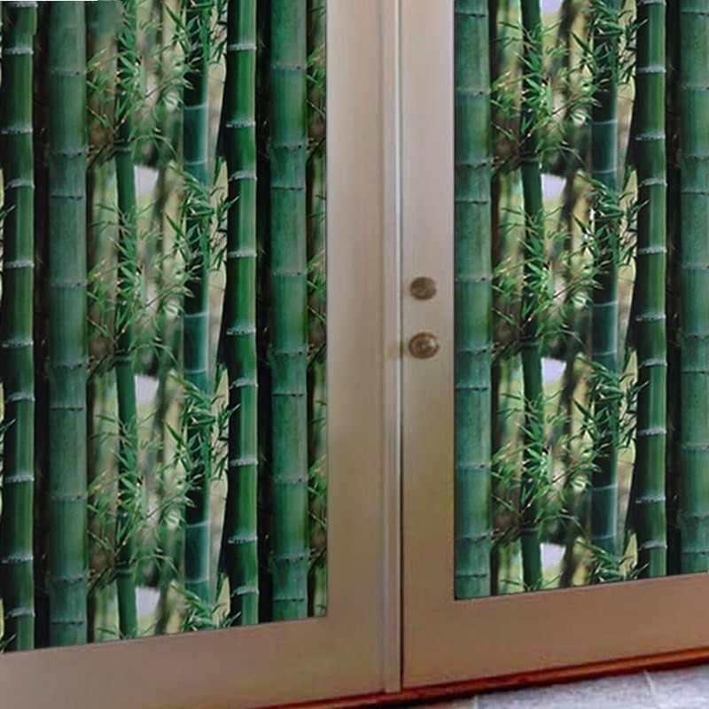 3D Verde di Bambù Statica Pellicola Della Finestra di Vetro Opaco di Auto-Adesivo Frosted Privacy Pellicola Della Finestra di Vetro Decorativo Autoadesivi Della Finestra 200cm