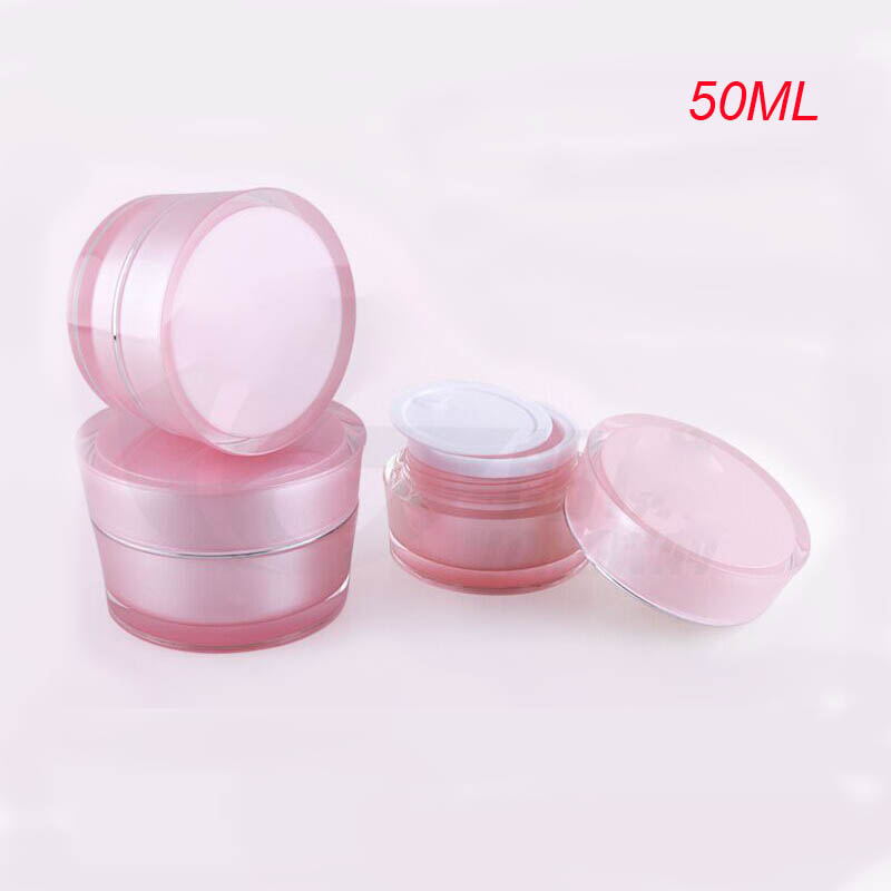 50 g PINK acrylic cone shape cream jar with silver line,50g pink plastic cosmetic container for sale , 50g acrylic Cosmetic Jar