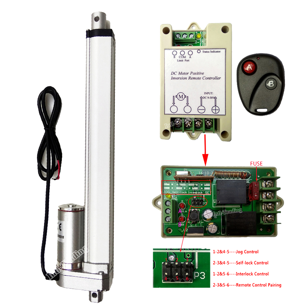 Linear Actuator 250mm 10 Stroke 1500N 330lbs With Wireless Remote Controller Bracket Set 12V DC Motor