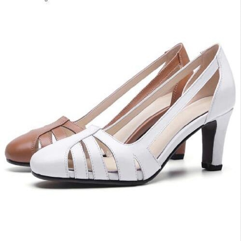 2018 cow leather simple design breathable high heels hollow women pumps round toe brown white color brand shoes krazing pot 2018 cow leather simple design breathable high heels hollow women pumps round toe brown white color brand shoes l92