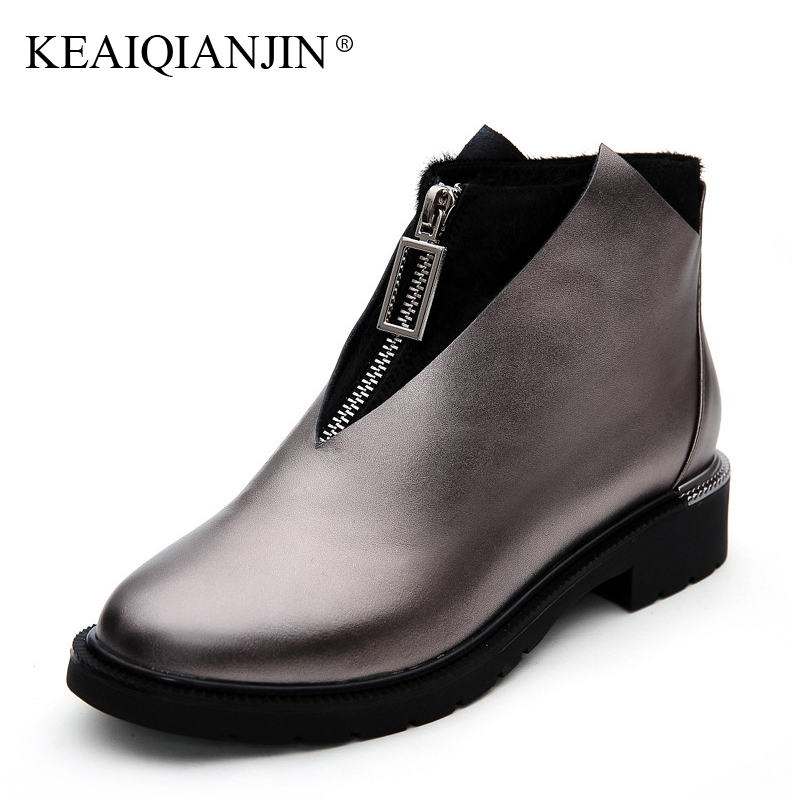 KEAIQIANJIN Woman High Heels Genuine Leather Ankle Boots Plus Size 34 - 42 Autumn Winter Boots Fashion Black White Red Shoes keaiqianjin woman rivet motorcycle boots autumn winter bottine plus size 33 43 shoes black red genuine leather ankle boots