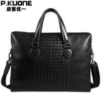 New Men's Briefcases Genuine Leather Shoulder Leisure Bag Business Messenger Portable Briefcase 14 Laptop P630530