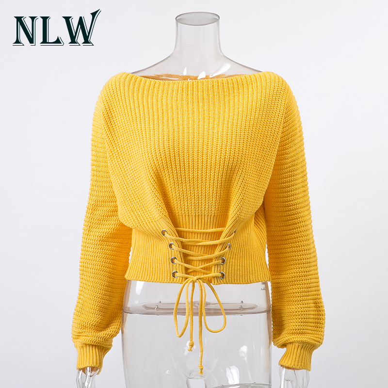 NLW Lace Up Crop Casual Women Sweater 19 Autumn Winter Knitted Pullovers Long Sleeve O Neck Loose Jumper Top Bandage Sweater 6