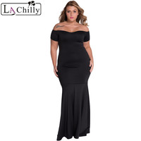 Dear Lover Summer Black Slash Neck Off Shoulder Mermaid Maxi Dress Plus Size Women Clothing Vestidos