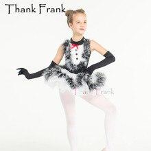 Балетное платье-пачка с перьями для девочек, детские романтические черные короткие платья для танцев, профессиональный костюм балерины для женщин и взрослых, C475