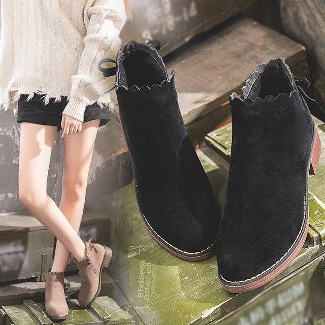 Kadın Çizmeler Yuvarlak Ayak Ayakkabı Düz Patik Fermuar Süet Düz Renk Ayakkabı Martin Açık PU Deri Klasik Kadın Çizmeler Sep #