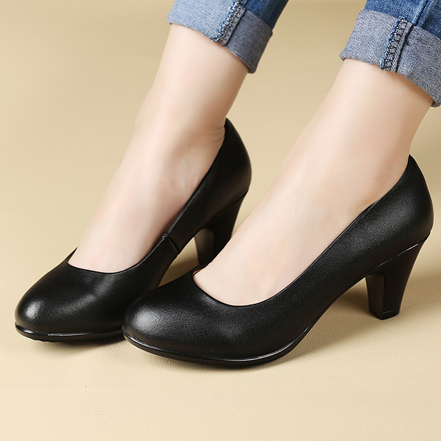 Spring and Autumn new women's shoes black soft-soled high-heeled shoes comfortable shoes with women shoes free shipping size 40