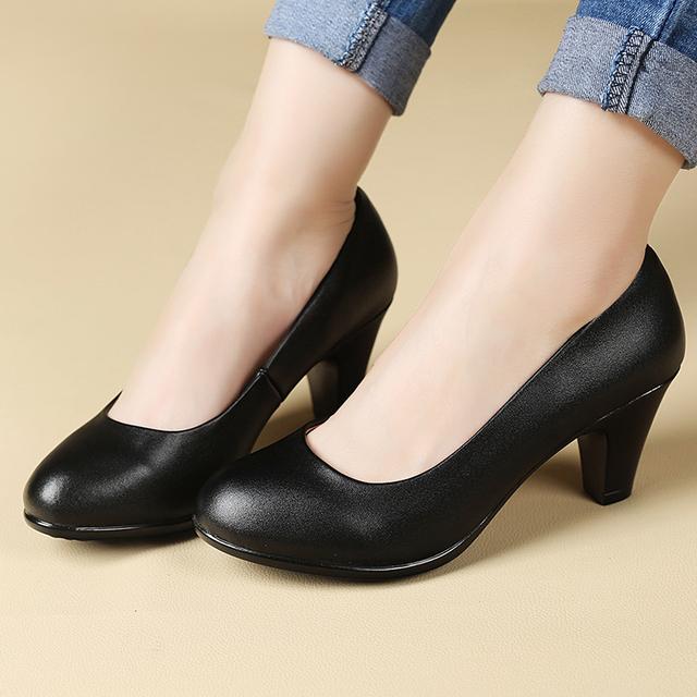 Zapatos de primavera y Otoño de las nuevas mujeres negro suave con suela de los zapatos de tacón alto cómodos zapatos con zapatos de las mujeres envío libre del tamaño 40