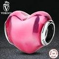 Romântico 925 Sterling Silver Em Meu Coração, violeta esmalte rosa encantos fit pandora pulseiras & pulseiras de prata jóias s270