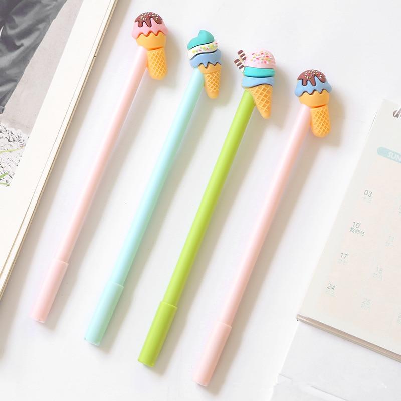 6 Pcs Gelato Gel Pen Cute Icecream 0.5mm Ballpoint Black Color Ink Pens Stationery Office School Supplies Caneta Escolar A6742