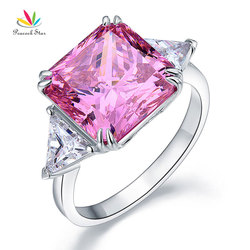 Peacock Star Solid 925 Sterling Silver Three-Stone Luxury Ring 8 Carat Fancy Pink Created Diamante CFR8156