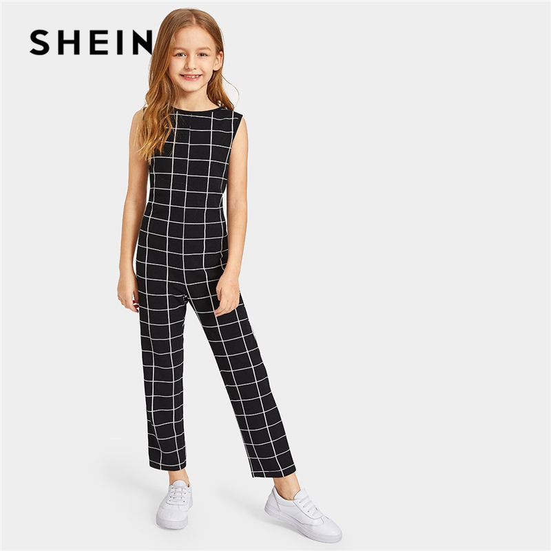 SHEIN Kiddie Black Plaid Zipper Back Casual Tank Jumpsuit Kids Clothing 2019 Summer Sleeveless Straight Leg Teenager Jumpsuits all over florals surplice wide leg jumpsuit