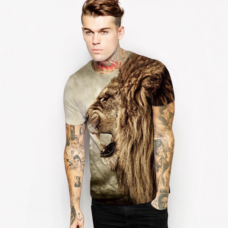 S-2XL!! Fashion Casual Short Sleeve Animal Pattern T Shirts Men Short Sleeved 3D T Shirt Wolf Tiger Lion Fox Monster Print Tees